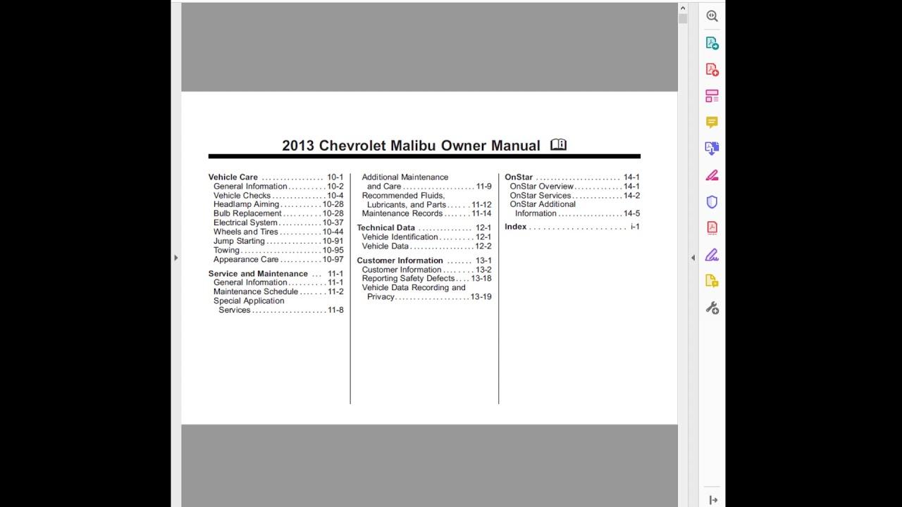 2013 CHEVROLET MALIBU OWNERS MANUAL
