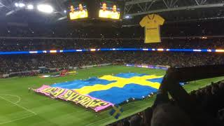 Nationalsången Friends Arena. Sverige - Italien 2017