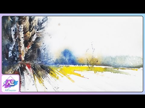 Sun light Watercolor Landscape Painting Tutorial | Art Explain
