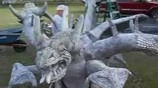 Florida Citrus County Concrete Sculptor T.J.Neil's Three Headed Dragon
