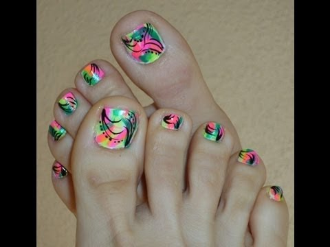 Funky Bright Neon Colors Toe Nail Design