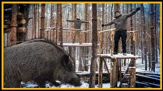 Bushcraft Camp [S04/E18] Wildschwein zu Besuch - Lagerbau Outdoor Super Shelter