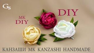 dIY: Заколка Канзаши. МК. Цветы Пионы / Hairpin Kanzashi. MK. Flowers Peonies