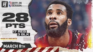 Andre Drummond 28 Pts 17 Reb 3 Blk Full Highlights | Spurs vs Cavaliers | March 8, 2020
