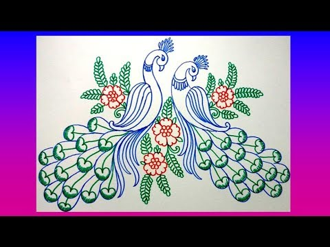 How To Draw Peacock With Beautiful Feather Design || Colour Sketch Pen