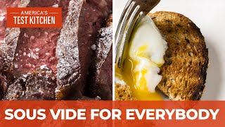 How to Make Sous Vide Seared Steaks and Soft-Poached Eggs