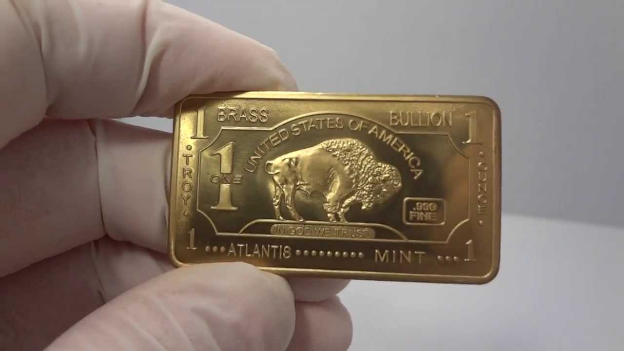 5oz Brass Bullion Bar Buffalo