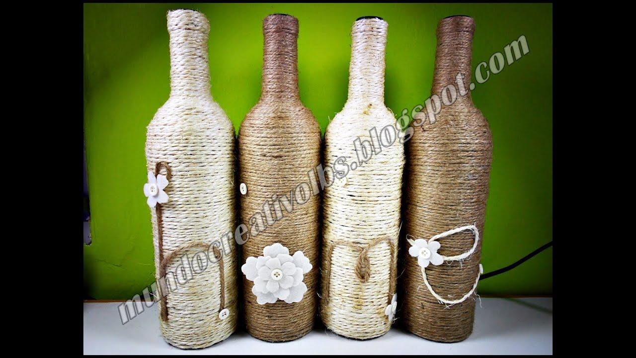 Diy botellas para decoraci n 039 youtube - Decoracion de botellas ...