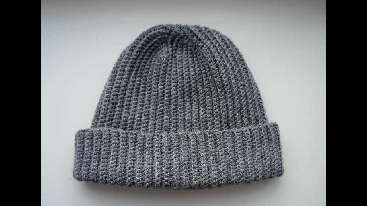 шапка бини крючком узор резинка видио
