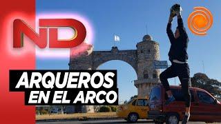 Arqueros de fútbol entrenan en el Arco de Córdoba