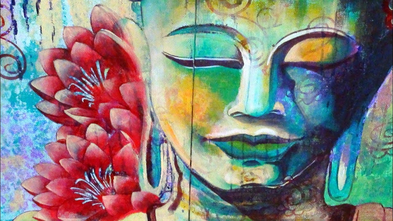 How to paint meditating buddha with two lotuses acrylic for Acrylic mural painting techniques