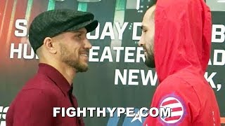 LOMACHENKO CRACKS UP DURING FACE OFF WITH JOSE PEDRAZA; STARES HIM DOWN WITH A SMILE