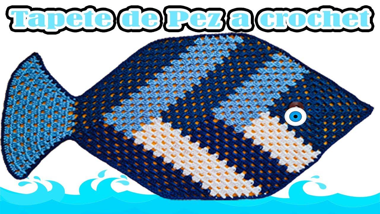 TAPETE individual a CROCHET   PEZ a crochet   crochet fish