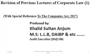 Revision of Corporate Law