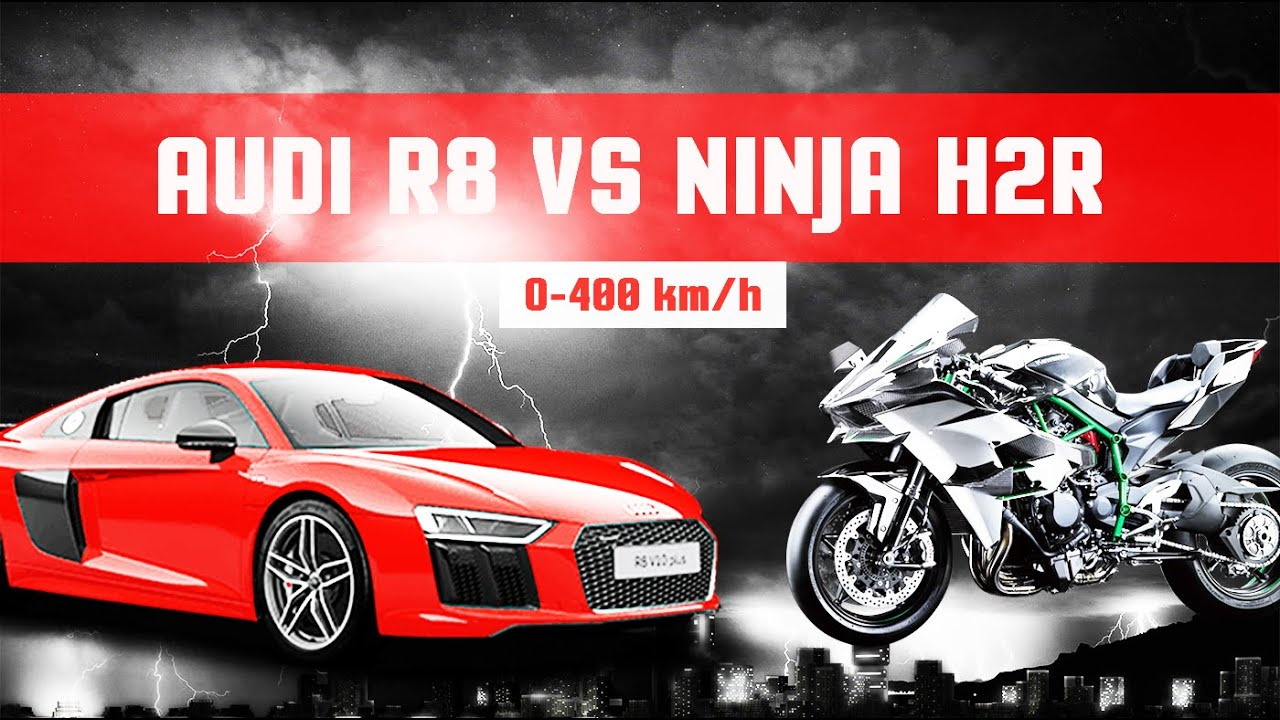 kawasaki ninja h2r vs audi r8 v10 top speed 0 400 km h acceleration youtube. Black Bedroom Furniture Sets. Home Design Ideas