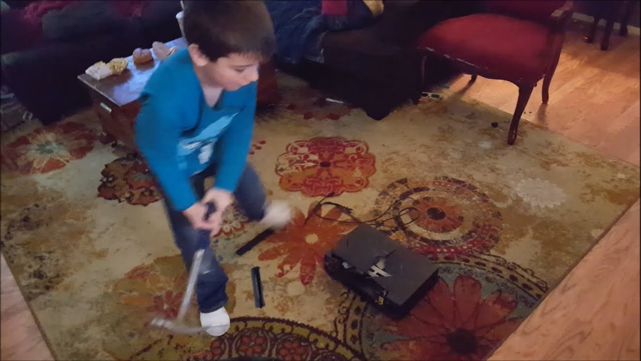 Kid Temper Tantrum Smashes Dad's VCR Because He Wanted To Play On Xbox! [Original]