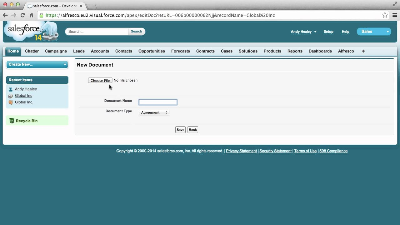 Alfresco for Salesforce: Attaching Files