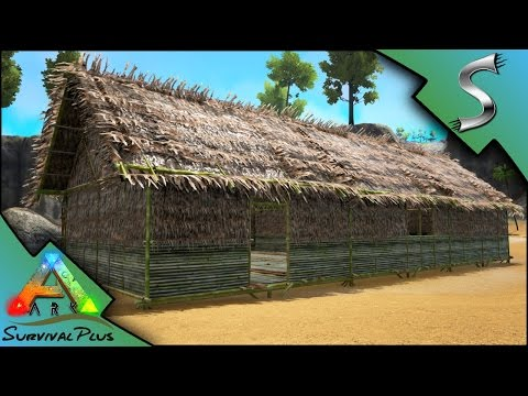 EPIC THATCH HOUSES! STARTING THE VILLAGE - Ark: Survival Plus [Gameplay E4]