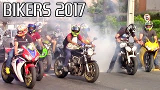 BIKERS 2017! Burnouts, Wheelies, Stoppies and Loud Motorcycle Sounds!