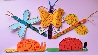 Popsicle stick Crafts with Paper | Butterfly and Snail - DIY for kids