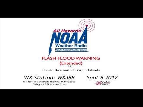 Flash Flood Warnings For PR and USVI Sept/6/17 (Cat 5 Hurricane Irma)