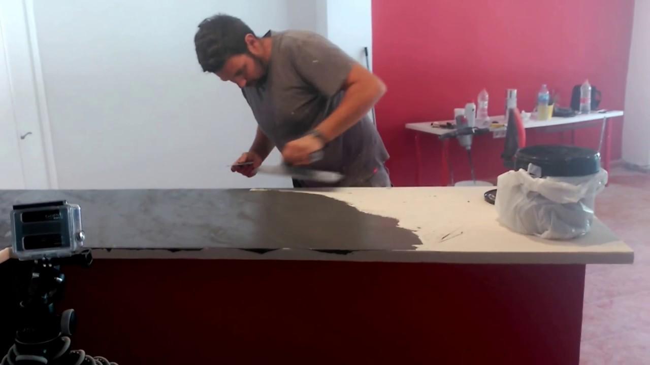 Encimera de microcemento negra youtube - Microcemento sobre azulejos ...