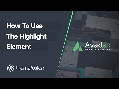 How To Use The Highlight Element Video