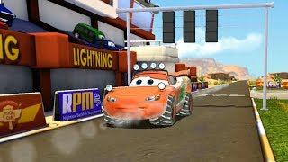 Winter Lightning McQueen Loses to Police Car VS Bulldozer Disney Cars 3 Racing Gameplay