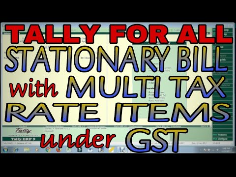 GST STATIONERY BILL WITH MULTIPLE TAX RATE ITEMS IN TALLY.ERP9 | TALLY GST EXPENSE ENTRY