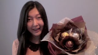 Repeat youtube video ✄DIY✄ ❤Valentine's Gift Idea❤ Ferrero Rocher Chocolate Flower Bouquet Tutorial + BLOOPERS!