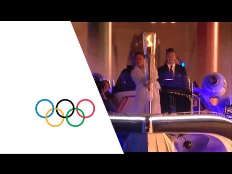 Thumbnail: David Beckham & Sir Steve Redgrave Pass Olympic Torch - London 2012 Opening Ceremony