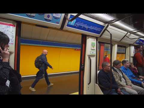Spain, Madrid, Metro ride from Plaza de Castilla to Estrecho