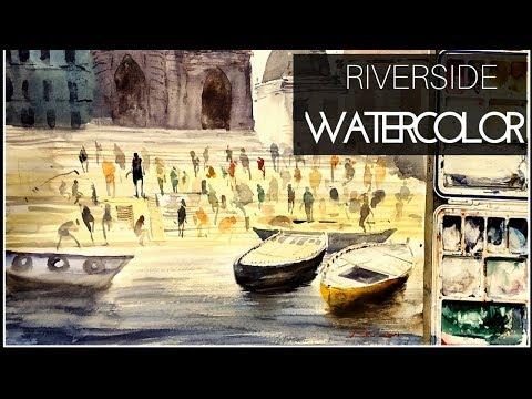 Watercolor tutorial-Riverside Varanasi Ghat with small human figure Watercolor in HINDI