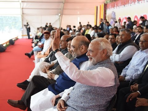 PM Modi attends swearing in ceremony of Gujarat CM Vijay Rup