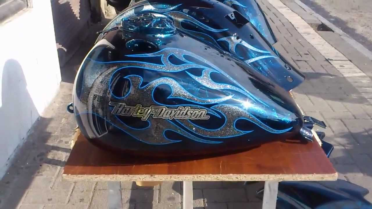Airbrushed 100 blue kandy skulls on Harley, silver flake, pinstripes ...
