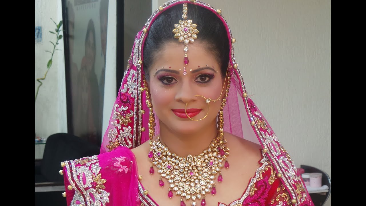indian bridal makeup - red and pink look - youtube
