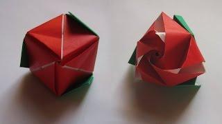 Модульная роза, куб трансформер  Оригами роза(Модульная роза, куб трансформер Оригами роза Схема, модульная роза цветок из бумаги, куб трансформер. Сдел..., 2015-07-23T09:00:00.000Z)