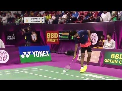 Syed Modi Int'l Badminton Championships 2016 | SF M4-MS | K. Srikanth vs Boonsak Ponsana