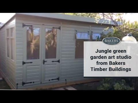 jungle green garden art studio from bakers timber buildings - youtube