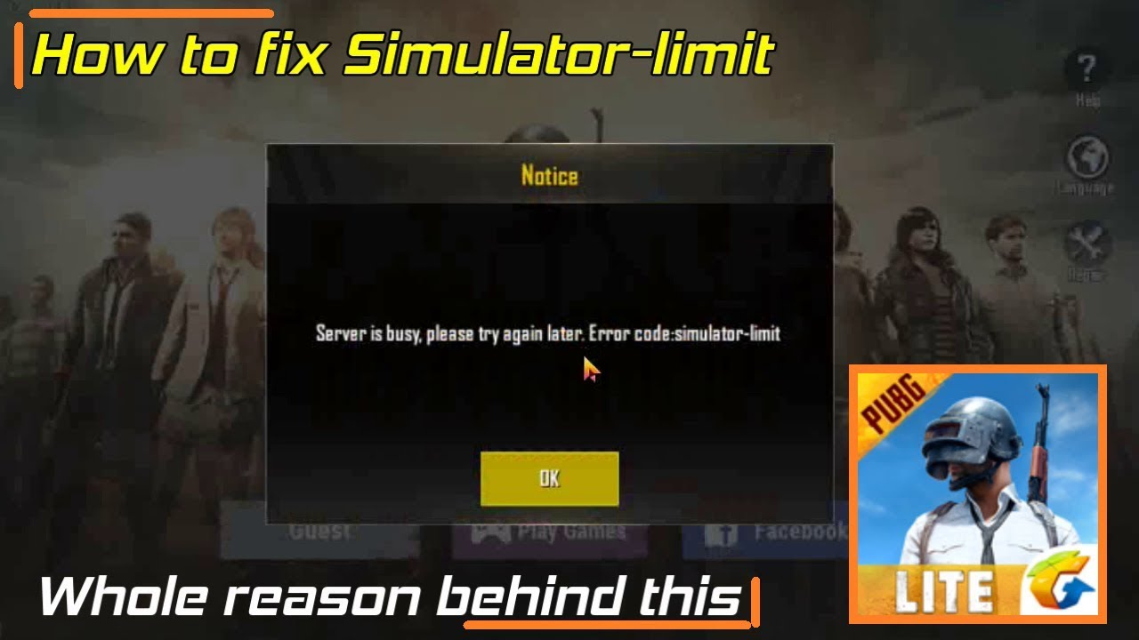 Pubg Mobile Lite How To Fix Simulator Limit Server Is Busy
