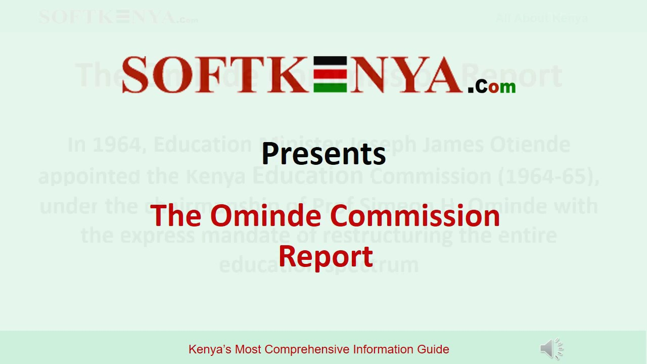 Ominde Commission Report and Recommendations - Ominde Report