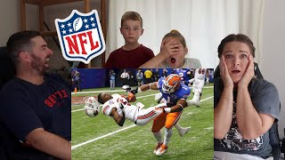 Family of Rugby Fans Reacts to NFL Footballs Biggest Hits Ever Youtube Video!!