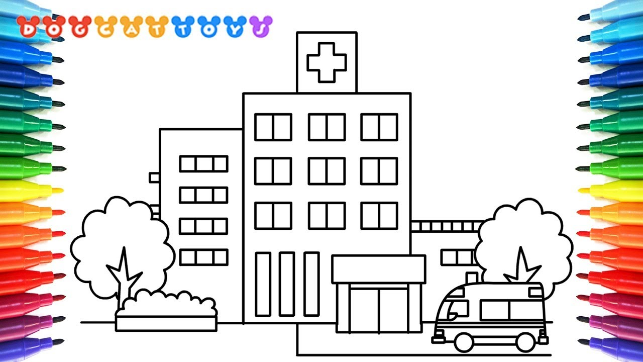 How To Draw A Hospital Coloring Pages