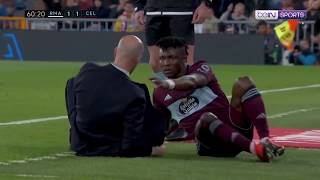 Zidane the manager gets taken out by Celta Vigo defender Joseph Aidoo | LaLiga 19/20 Moments