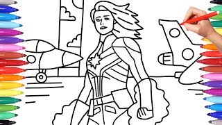 Captain Marvel | How to Draw Captain Marvel | Captain Marvel Coloring Pages | Avengers Endgame