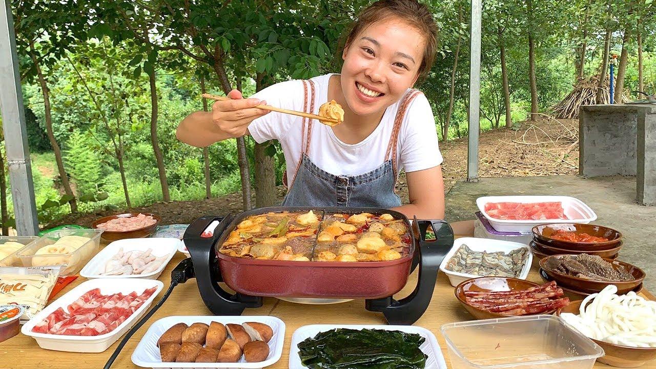 秋妹打卡火鍋燒烤食材超市,羊肉鴨血大蝦滑,蘸著香油吃的好安逸! 【顏美食】
