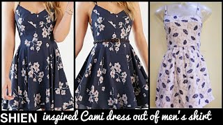 DIY : Recycle/Reuse Mens shirt Into Beautiful Cami Dress in 5 minutes~