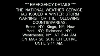 2x Winter Storm Warning: Boston & NYC || 3-20-18