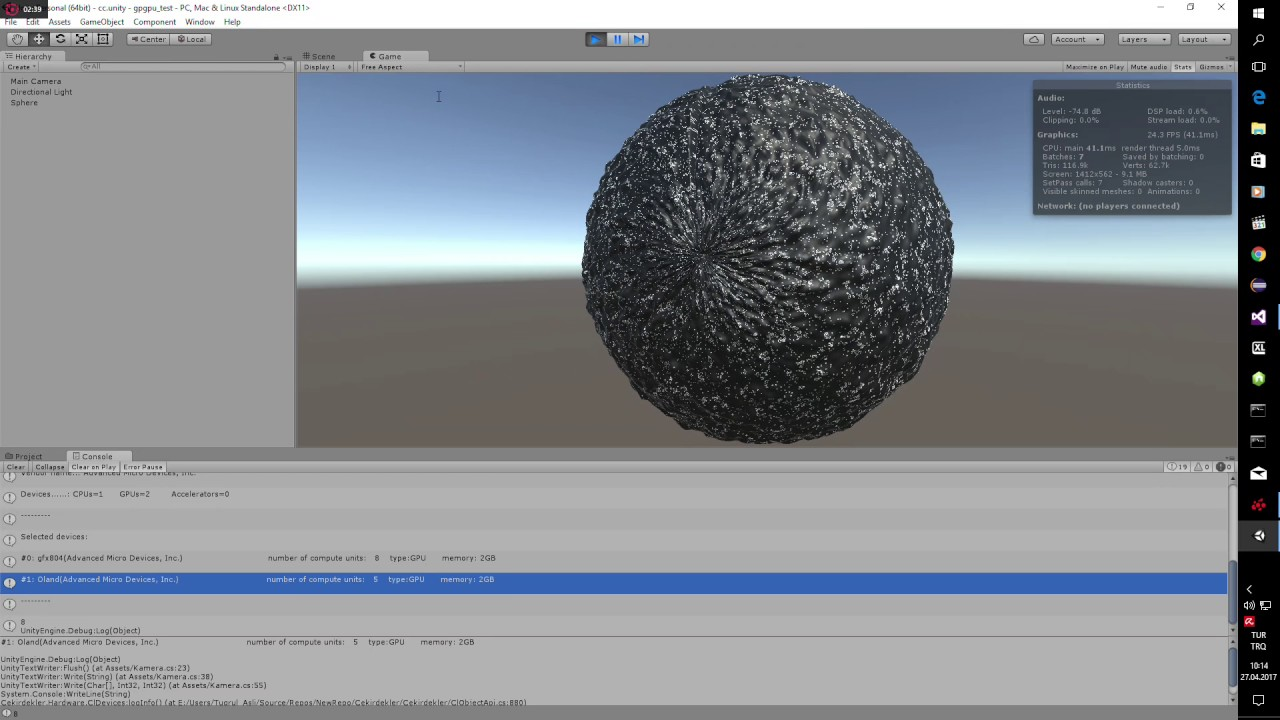 Unity Engine: multi GPU computing with Cekirdekler API (open-source C#  project)