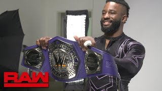 cedric alexander gets his cruiserweight title personalized stands for a photo shoot april 9 2018